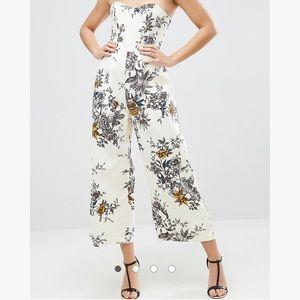 ASOS petite tailored floral culotte jumpsuit